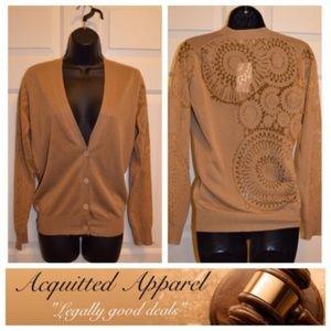 NWT Dries Van Noten Gold Loom Cardigan Sweater